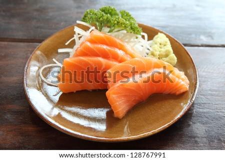 salmon sashimi isolated in white background - stock photo