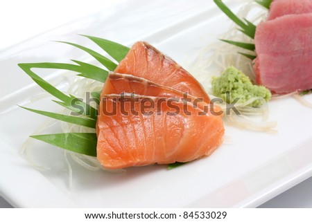 salmon sashimi isolated in white background - stock photo