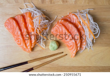 Salmon sashimi, japanese food. - stock photo