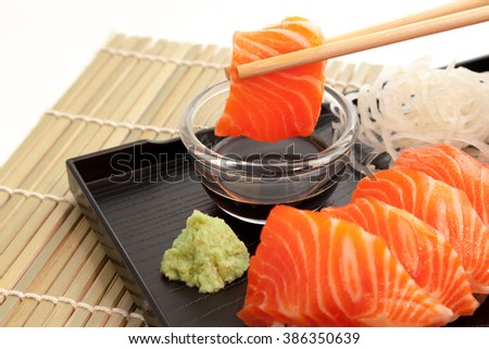 Salmon sashimi on the plate
