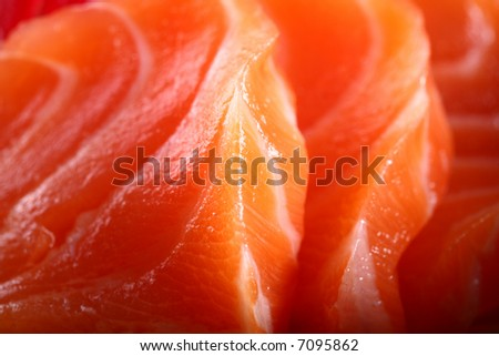 Salmon seshimi close-up - stock photo