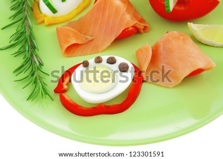 salmon slice and cooked egg and vegetables