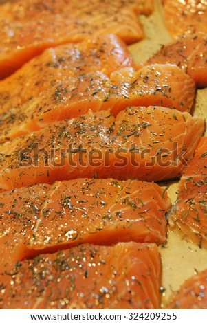 salmon slices seasoned with thyme