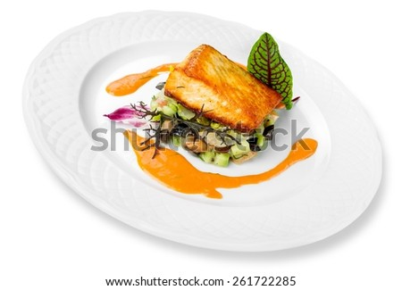 Salmon, spinach, gourmet. - stock photo