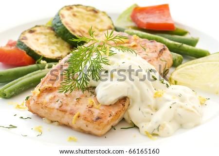 Salmon Steak - stock photo