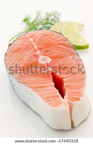 Salmon Steak - stock photo