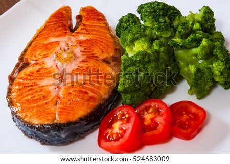 Salmon steak fish fillet with broccoli