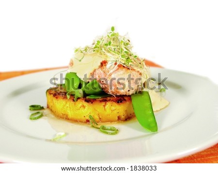 Salmon steak on pineapple with alfalfa sprouts and cottage cheese - stock photo