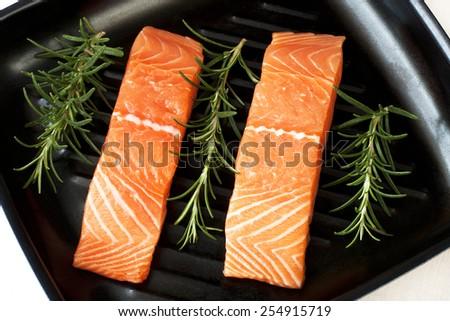 Salmon steak red fish - stock photo