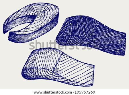 Salmon steak red fish. Doodle style. Raster version - stock photo
