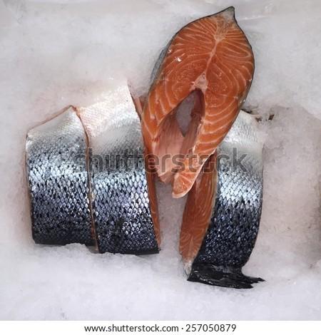 Salmon steak red fish on ice - stock photo