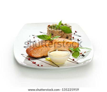Salmon Steak with Risotto - stock photo