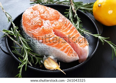 Salmon steak with rosemary, food - stock photo