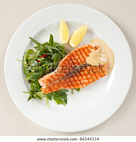 salmon steak with salad - stock photo
