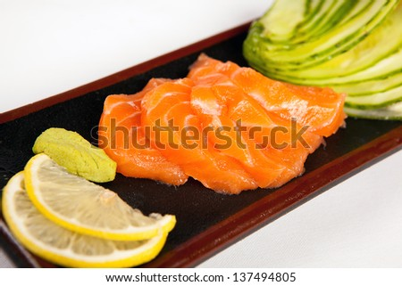 salmon sushi - stock photo