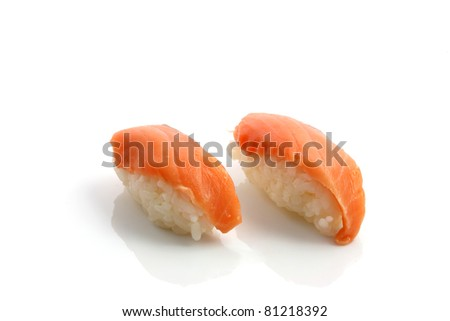 Salmon sushi isolated in white background
