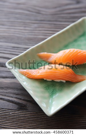 Salmon sushi Japanese food in close up - stock photo