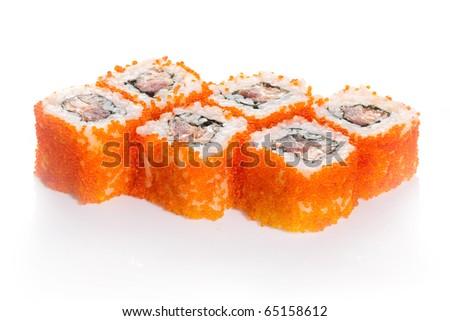 Salmon sushi maki with caviar on white ground - stock photo