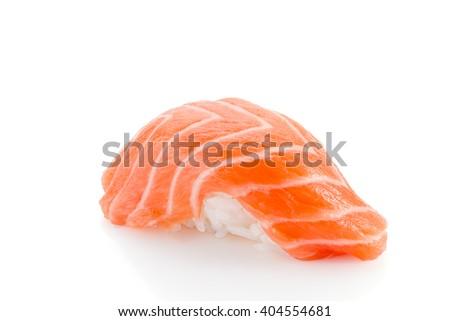 Salmon sushi nigiri isolated on white background - stock photo
