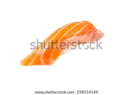 Salmon sushi nigiri on a White background - stock photo
