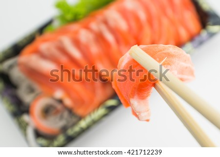 Salmon Sushi on the white background,close up
