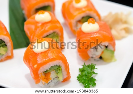 Salmon Sushi placed in the dish. - stock photo