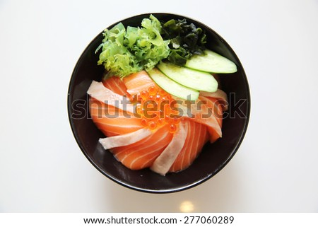 salmon sushi rice don  - stock photo