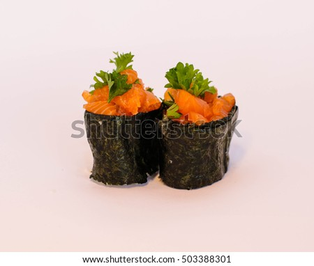 Salmon sushi roll. Japanese cuisine.