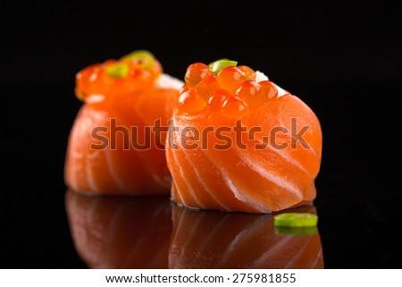 salmon sushi rolls - stock photo
