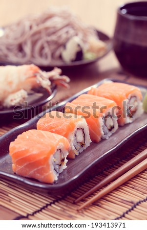 Salmon sushi rolls, japanese food-Filtered Image
