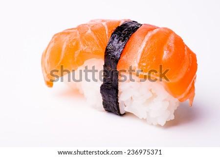 salmon sushi with nori isolated on white background  - stock photo