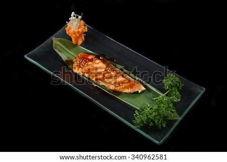Salmon teriyaki - japanese food style - stock photo