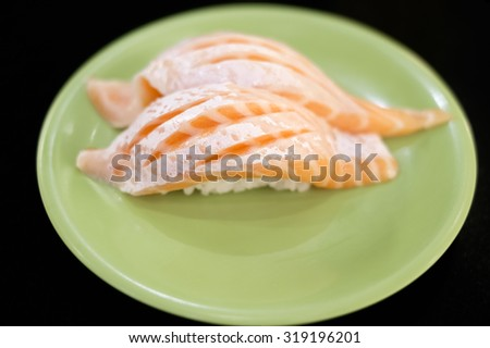 Salmon Toro Nigiri Sushi (shallow dof) - stock photo