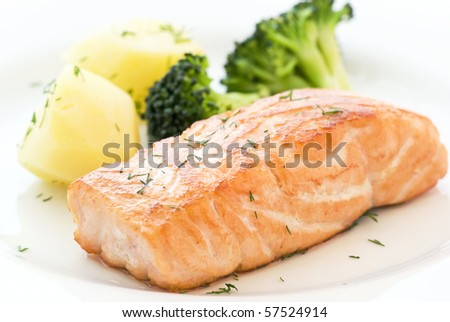 Salmon with Broccoli - stock photo