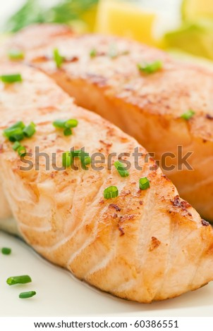 Salmon with Fruits - stock photo
