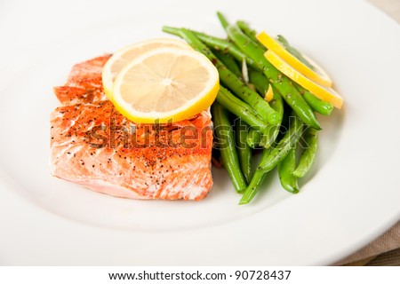 Salmon with Green Beans for Healthy Dinner - stock photo
