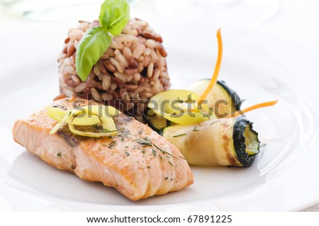 Salmon with Rice and Vegetable - stock photo