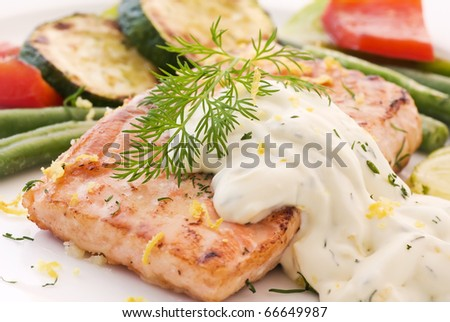 Salmon with vegetable - stock photo