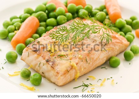 Salmon with vegetable - stock photo