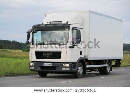 SALO, FINLAND - JULY 10, 2015:  MAN TGL 8.180 delivery truck on the road. MAN TGL are designed for short-haul and distribution transport. - stock photo
