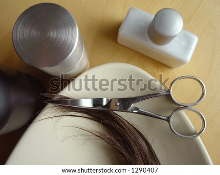 Salon hair care with various tools and creams.