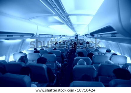 Salon of airplane - stock photo