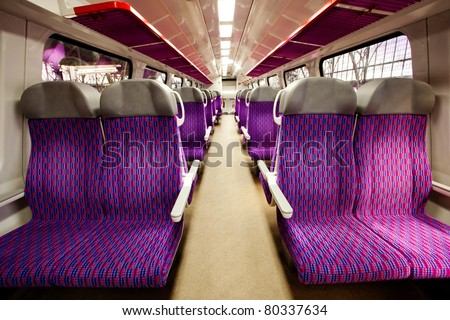 salon of high speed train at a railway station - stock photo