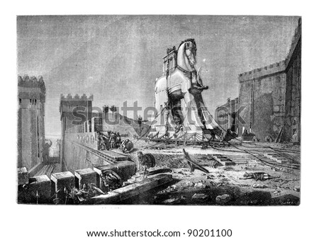 Salon of 1874, Painting. - The Trojan Horse, by Motte, vintage engraved illustration. Magasin Pittoresque 1875. - stock photo