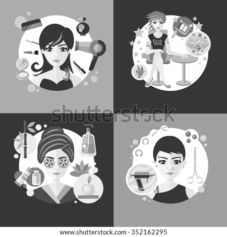Salons, beauty tattoo piercing. Spa and parlor, face care, girl fashion, hair and cosmetic, woman haircut, elegant hairstyle, elegance visage, banner cosmetology. Black and white color. Raster version - stock photo