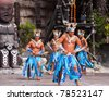 SALOU, SPAIN - APRIL 13:  Port Aventura theme Park in April 13, 2011 in Salou, Spain.  Dancers performance traditional show at Polynesian area - stock photo