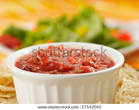 salsa and chips closeup - stock photo