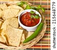 Salsa and tortilla chips. Selective focus. - stock photo