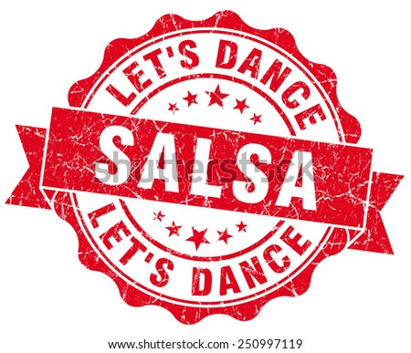 salsa dance red grunge seal isolated on white - stock photo