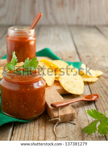 Salsa sauce and tortilla chips - stock photo